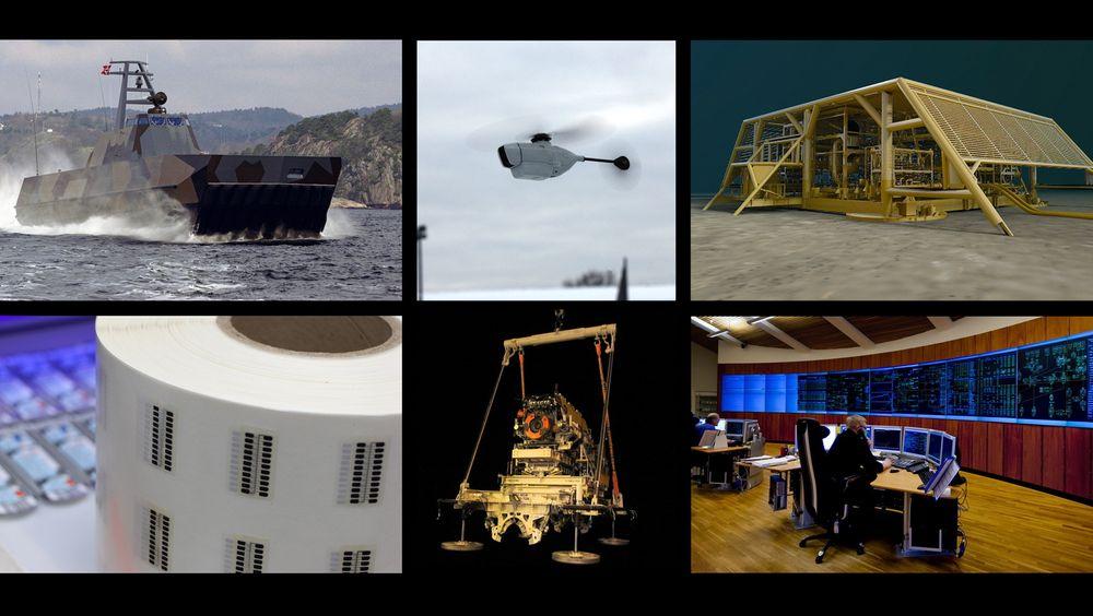 Kandidatene til Årets Ingeniørbragd 2012. Øverst fra venstre: Umoe Mandal, Prox Dynamics, Aker Solutions / Statoil. Nederst fra venstre: Thin Film, Statoil og Gassco.