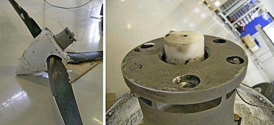 Propellen ble funnet i et skogholt tre dager etter ulykken. Til høyre er propellens monteringsflens med to av seks bolter stående igjen.