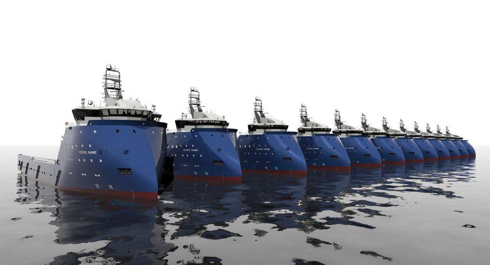 LANG REKKE: Seatankers Group har bestilt 12 forsyningsskip med PX105-design fra Ulstein.