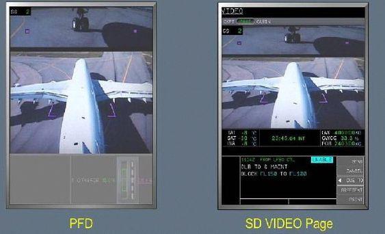 Bilde fra FTAC (Fin Taxi Aid Camera) på et A380 som er konstruert for å vise ytterkantene av landingsstellet, ikke vingetippene på superjumboen.