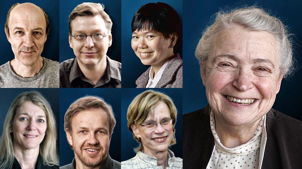 VINNERNE: David C. Jewitt (øverst f.v.), Michael E. Brown og Jane X. Luu deler Kavliprisen i astrofysikk. Cornelia Isabella Bargmann (nederst f.v.), Winfried Denk og Ann M. Graybiel deler Kavliprisen i nevrovitenskap. Mildred S. Dresselhaus (t.h.) får Kavliprisen i nanovitenskap.