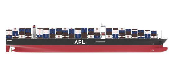 ENDRINGER: Et trenet øye vil se at bulben ligger lavere i sjøen og at akterpartiets form mot propellen er endret. APL vil spare 3 millioner dollar i året i reduserte drivstoff på hvert av de 10 containerskipene.