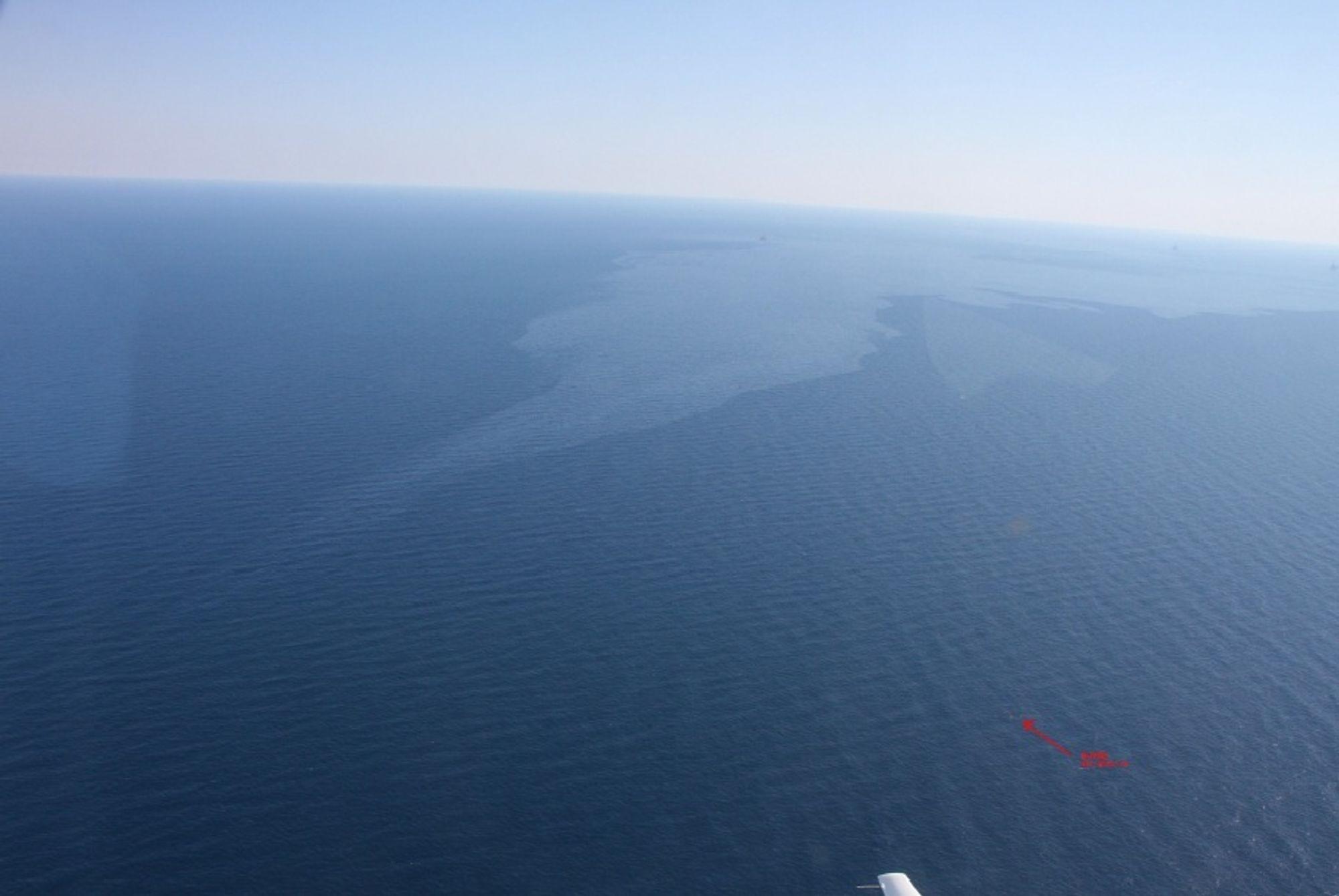 Omfattende: Dette oljeflaket var 15 ganger 3 kilometer i utstrekning.