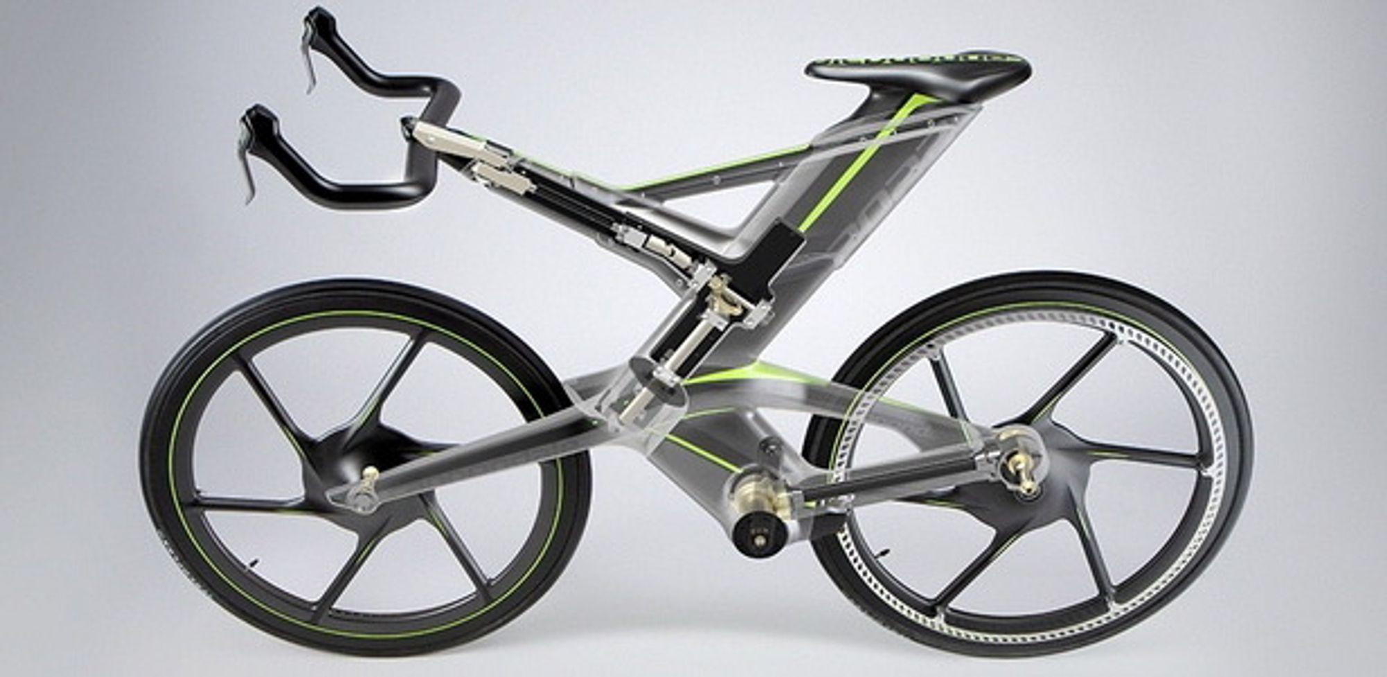 Setepinnen og styret på sykkelen kan heves og senkes i fart.