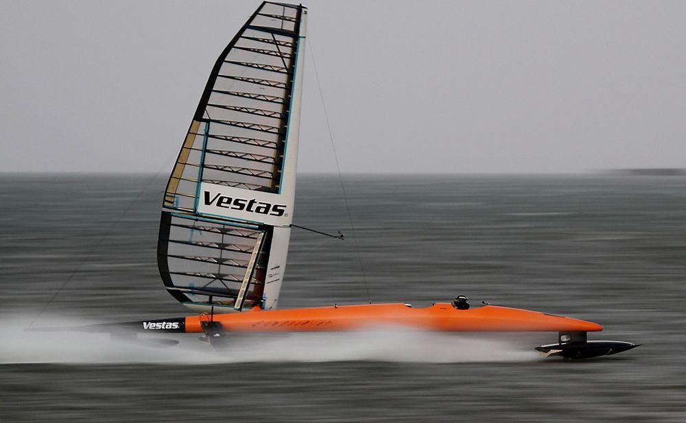 Sailrocket 2 er her i aksjon utenfor kysten av Namibia i fjor.