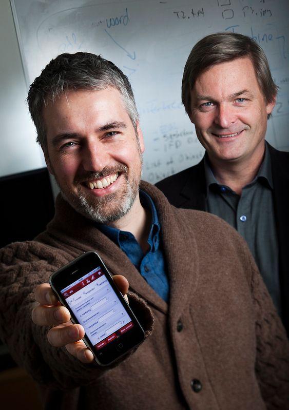 STIFTET : Ole Jørgen Karud og Håvard Bell startet firmaet Catenda I 2009. Selskapet har i dag fem ansatte i Oslo og to i Bergen. FOTO: WERNER JUVIK
