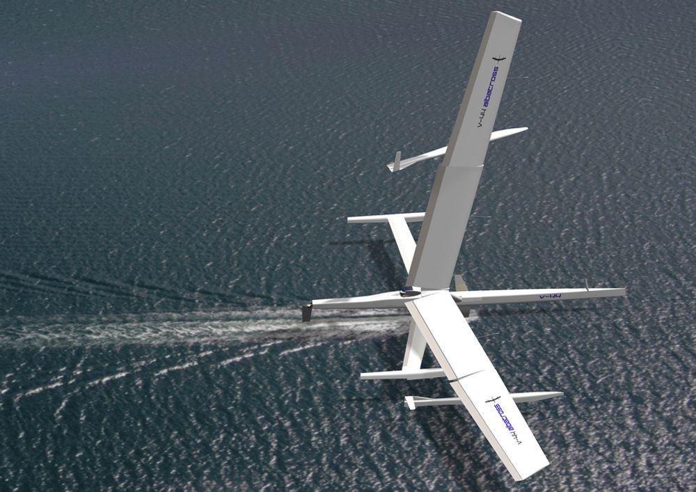EKSTREMT: Skotten Tim Clarke håper å kunne oppnå over 70 knop med denne farkosten. Båten har to vinger, en for framdrift og en for løft for å få minimal hydrodynamisk motstand. Største utfordring er kavitering rundt kjølen under fart.