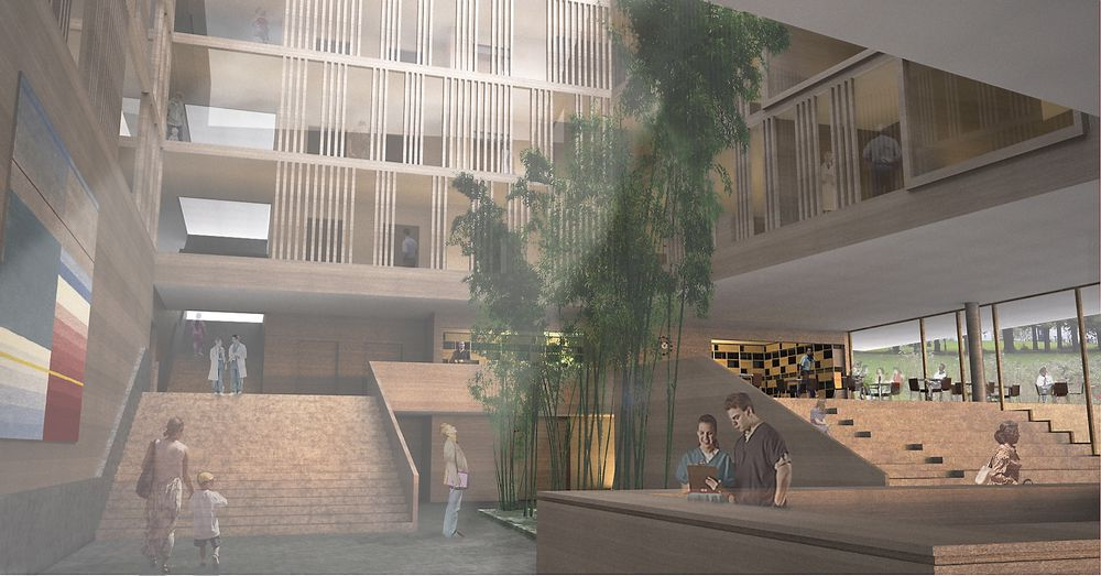 ATRIER: Det nye sykehuset får to atrier med pasientrom og andre rom plassert rundt disse. Målet er å klare energiklasse A.