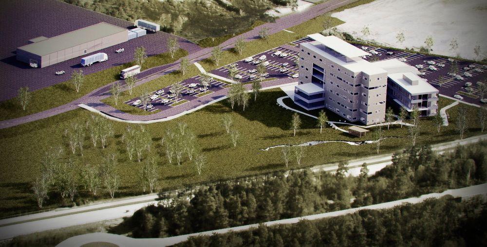 KONTOR OG TEST: Testanlegget til Wärtsilä skal etter planen stå klart i slutten av 2012. Kontorbygget skal ferdigstilles i løpet av 2013. Kontorbygget får plass til 310 ansatte. Samlet areal ca. 7.000 kvadratmeter.