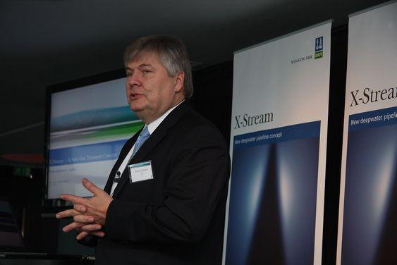 FØRST: Konsernsjef Henrik O. Madsen i DNV fortalte både presse og gassindustri om X-Stream i London i slutten av januar.