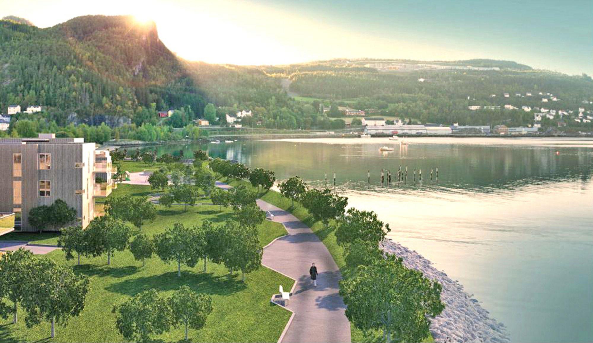 Slik vil det se ut ved strandkanten i det nye boligfeltet i Hommelvik sommeren neste år. Allerede i november i år er strandpromenaden og boligene på bildet ferdig. Ill.: Vizwork