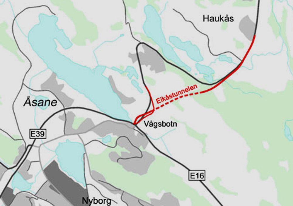 Implenia ligger godt an til å få kontrakten på driving av Eikåstunnelen og tilstøtende veger. Jobben skal fullføres i mai 2014. Ill.: Statens vegvesen