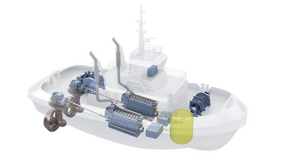 TAUBÅT: Rolls-Royce skal levere de to LNG-motorene, framdroiftssystem og annet utstyr til de to taubåtene Buksér og Berging har utviklet sammen med Marin Design. Det blir verdens to første gassdrevne.