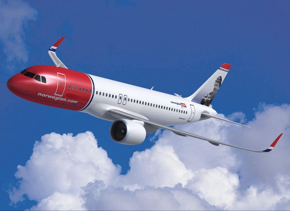 Slik vil Airbus A320neo se ut i Norwegian-drakt. Selskapet har bestilt 100 stykk.