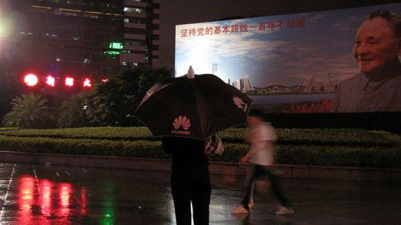 Shenzhen, Kina, Huawei, paraply, monsun, Deng Xiaoping