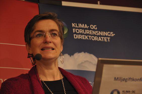 TALTE: Klif-direktør Ellen Hambro holdt tale på Miljøgiftkonferansen. Foto: Fredrik Drevon