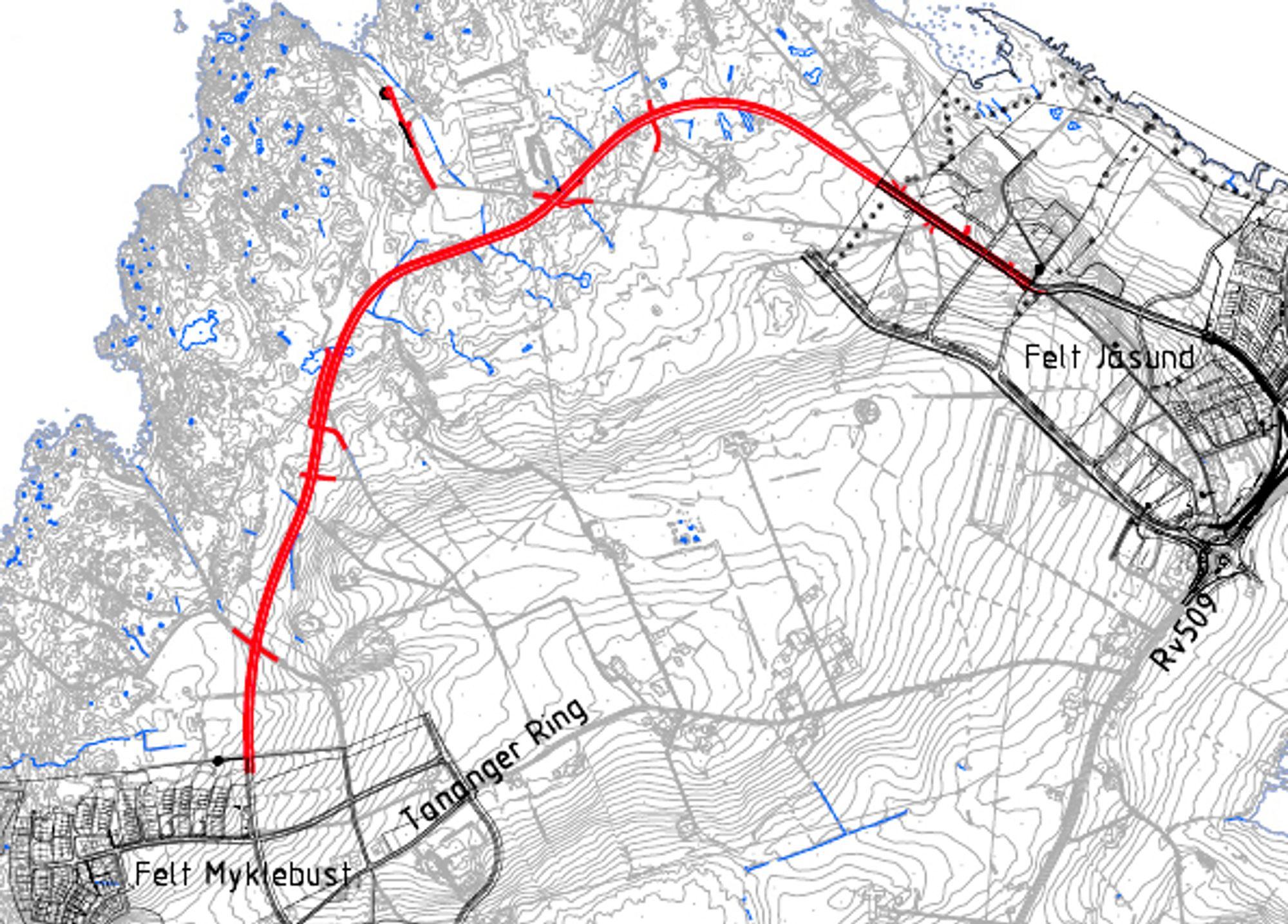 Den nye fylkesvegen er markert med rødt. Den blir anlagt av en entreprenør fra Rogaland. Ill.: Statens vegvesen