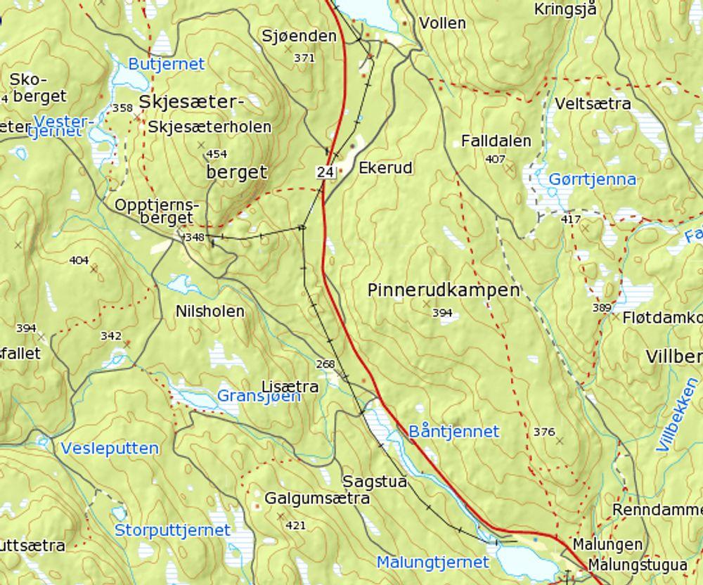 Strekningen som skal utbedres går mellom Malungen og Sjøenden. Ytterpunktene ligger nederst og øverst på kartet. Ill.: Statkart