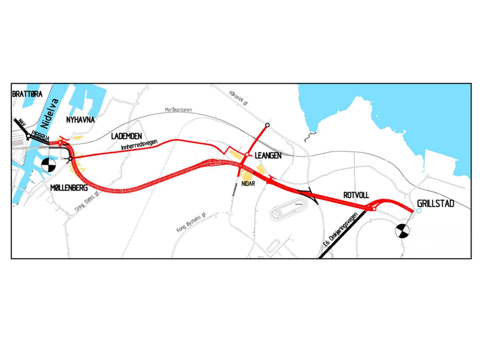 Den tykke røde linjen markerer hovedvegstrekningene som inngår i elektroentreprisen. KB Electrotech skal også utføres arbeid på ca. en kilometer av E 6 Omkjøringsvegen, som er markert med svart nede til høyre. Ill.: Statens vegvesen