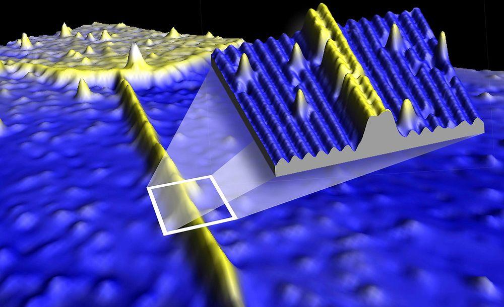 SYLTYNN: Elektronikk på atomskala. Teknikker med super presisjon gjør det mulig å lage en god ledning som bare er fire atomer bred. NB: Kun til engangsbruk