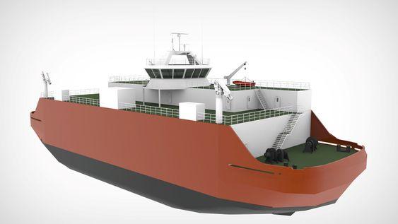 KRAFTPLUGG: Foreløpig design av skipet med kraftverk om bord. Det ca. 70 meter lange skipet vil ha kraftproduksjon basert på LNG-motor, brenselcelle, energigjenvinning fra varme til el samt batterier. Samlet effekt kan bli rundt 13 MW el-kraft.