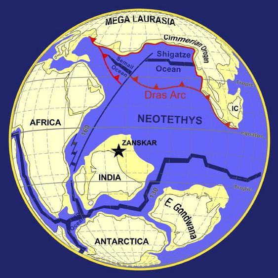 LØSRIVELSE: De teutoniske platene flytter seg. Slik var kontinentene for ca. 100 millioner år siden, i kritt-perioden.