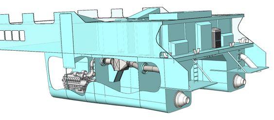 LITEN: Det nye eksosanlegget med katalysator tegnet inn i rommet bak motoren. Ammoniakk står i det lukkede rommet helt akter (tegnet i svart). Derfra går gassen i rør-i-rør til katalysatoren.