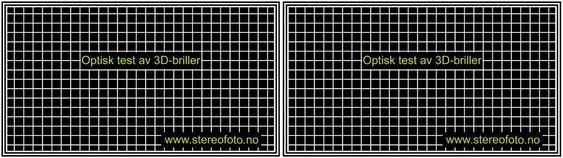 Rutenett (uten dybde). Test av brillenes optiske kvalitet.