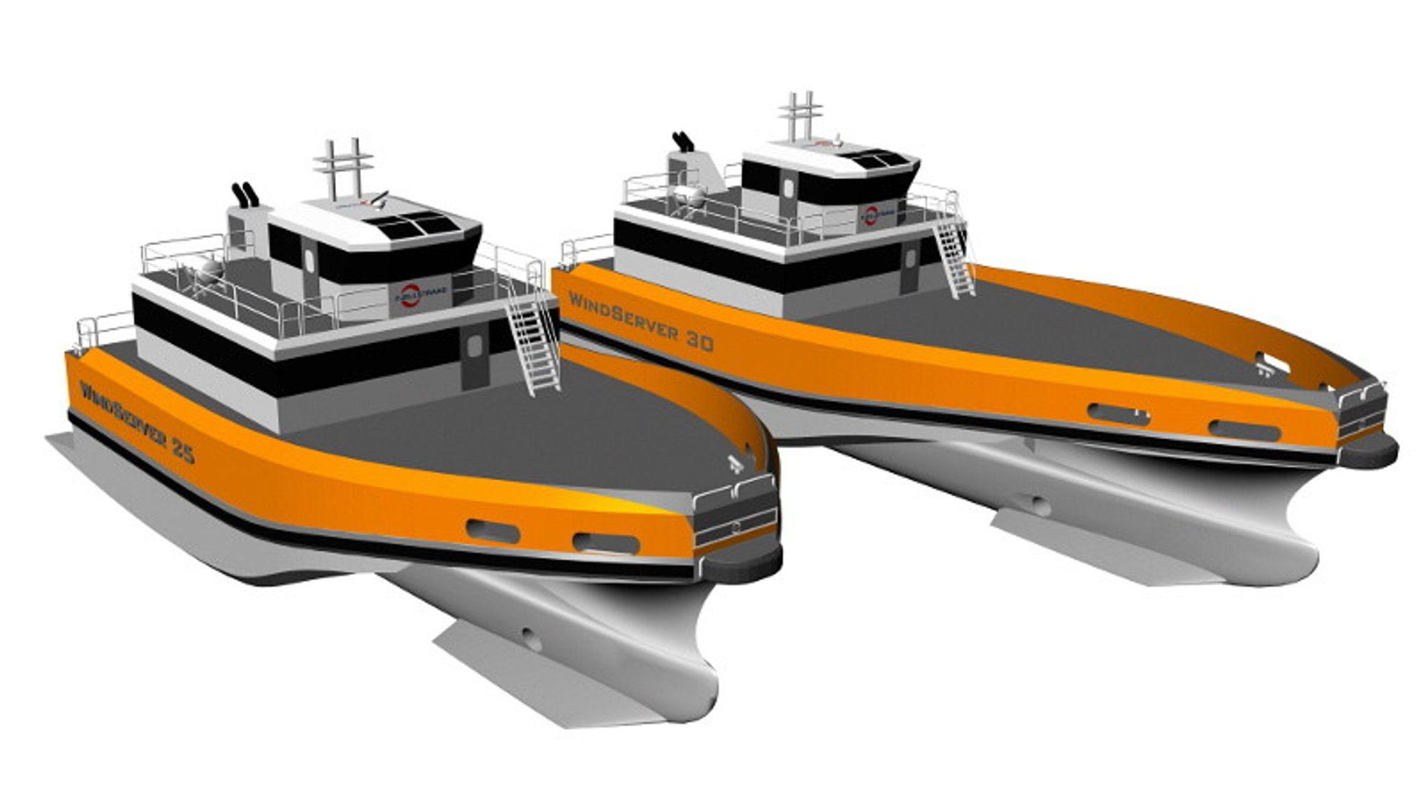 TO STRØRRELSER: WindServer 25 og 30 - med plass til 12 eller 24 passasjerer. Skal de ha med flere enn 12, kreves passasjersertifikat. Tre skrog og stor ballastvannstanker gir fleksibiliteten til å kjøre fort i transitt og å ligge stabilt ved overføring av personell og utstyr til vindturbiner offshore.