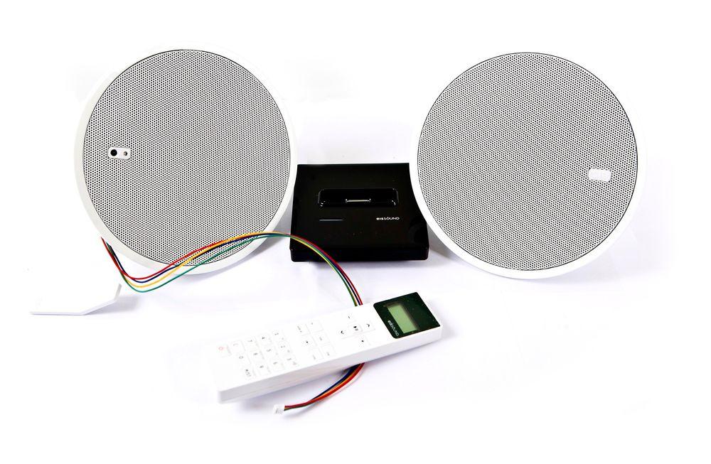 BYGGESETT: To høyttalere, fjernkontroll og en skjult radiodel inngår. Dokkingstasjonen koster ekstra. Foto: Håkon Jacobsen