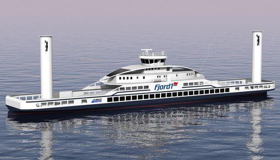 HYBRID: Konseptfergen til Fjord1 for E39 Lavik-Oppedal med Flettner-rotorene som mest oppsiktsvekkende.Design: Multi maritime.