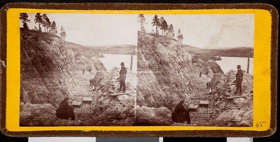 STEROSKOPI: Carl Abraham Pihl, fra anlegget av Kongsvingerbanen, Stereoskopi, ca. 1862, Norsk jernbanemuseum.