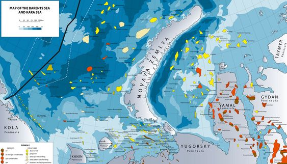 ENORME STRUKTURER: Det er identifisert flere kjempeprospekter på russisk side av delelinjen. Russiske eksperter anslår at prospektet på Hjalmar Johansen-høyden (farget sennepsgult på kartet) inneholder to til tre ganger så mye gass som Sjtokman-feltet. Det ville i så fall blitt verdens desidert største offshorefelt. Sjtokman har påviste reserver på 3,8 milliarder kubikkmeter gass, mer enn all gass som er produsert på norsk sokkel.