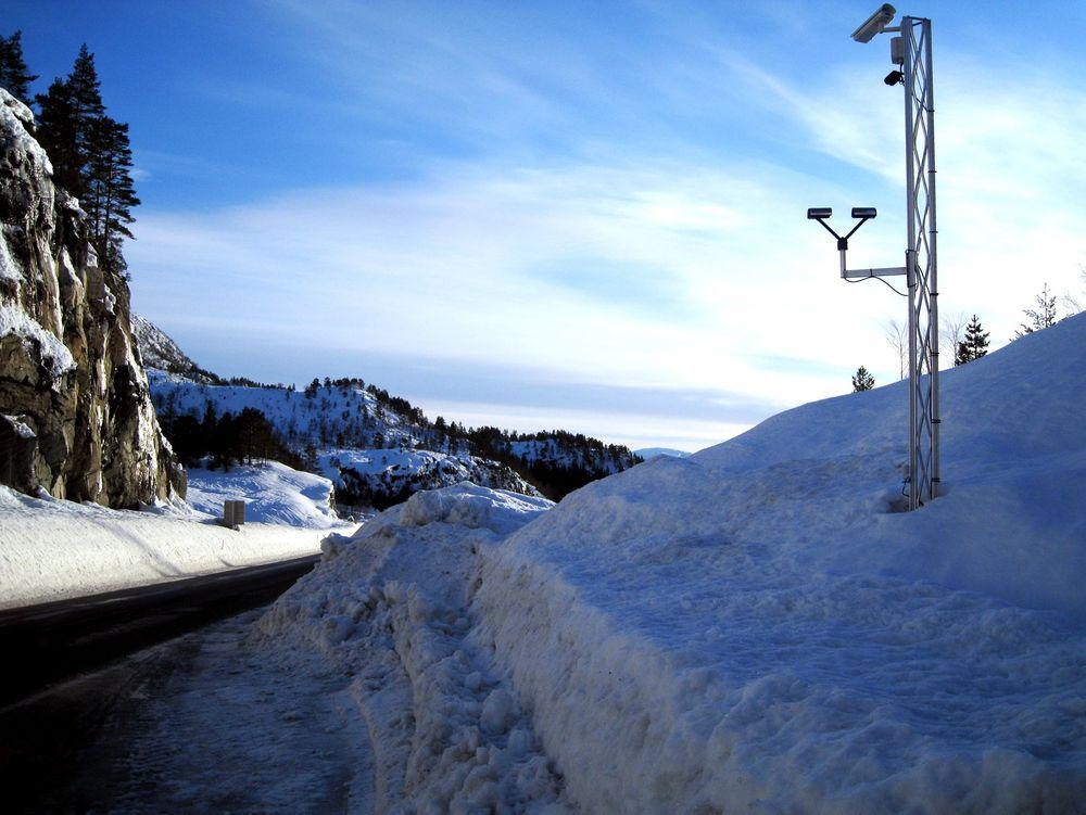 VINTERVEI: Her fra Statens vegvesens nåværende værstasjon på E39 ved Romarheim.
