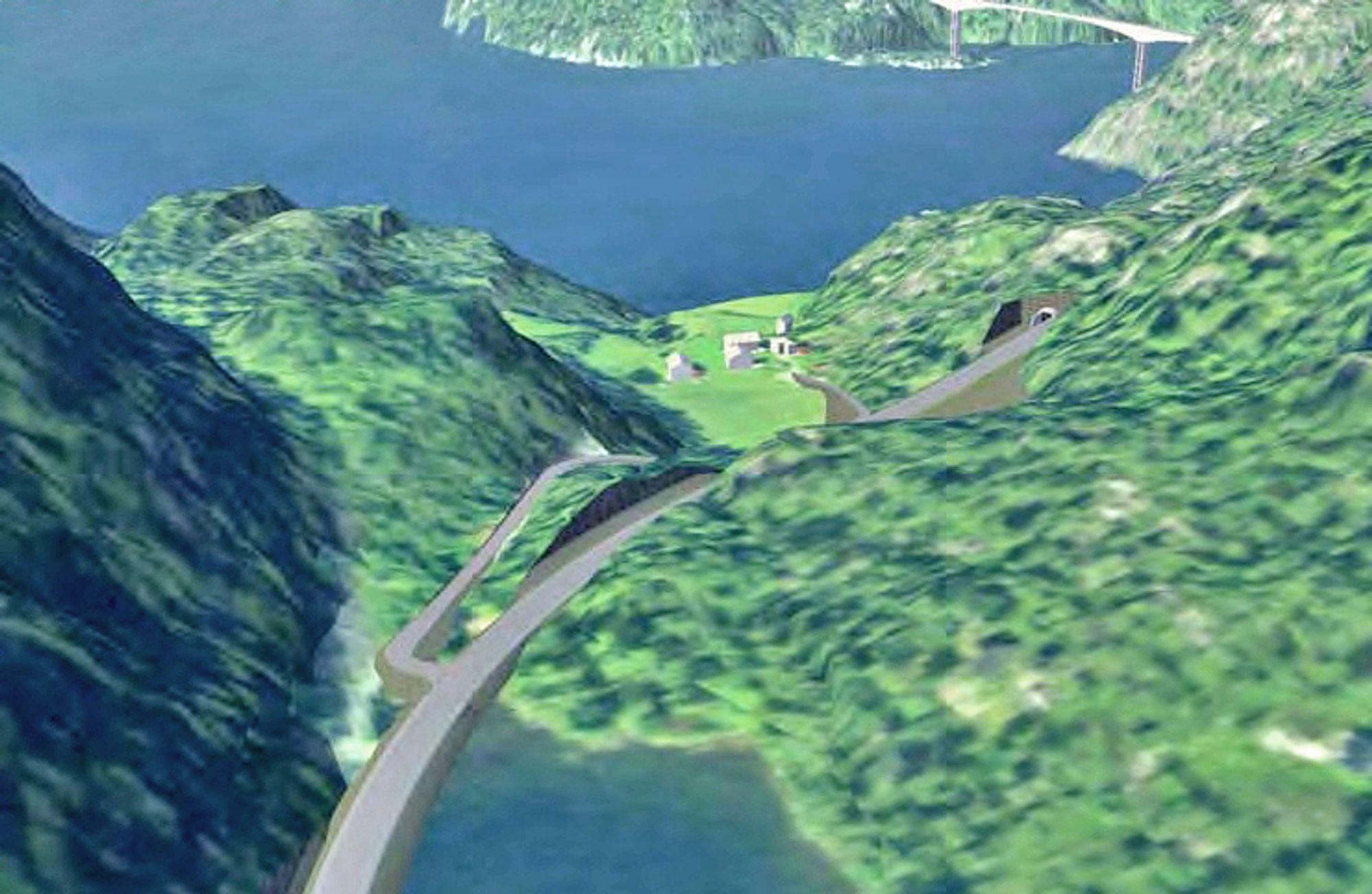 Bildet viser en del av tilførselsvegen fra øst. Brua over Sandsfjorden ses i bakgrunnen.