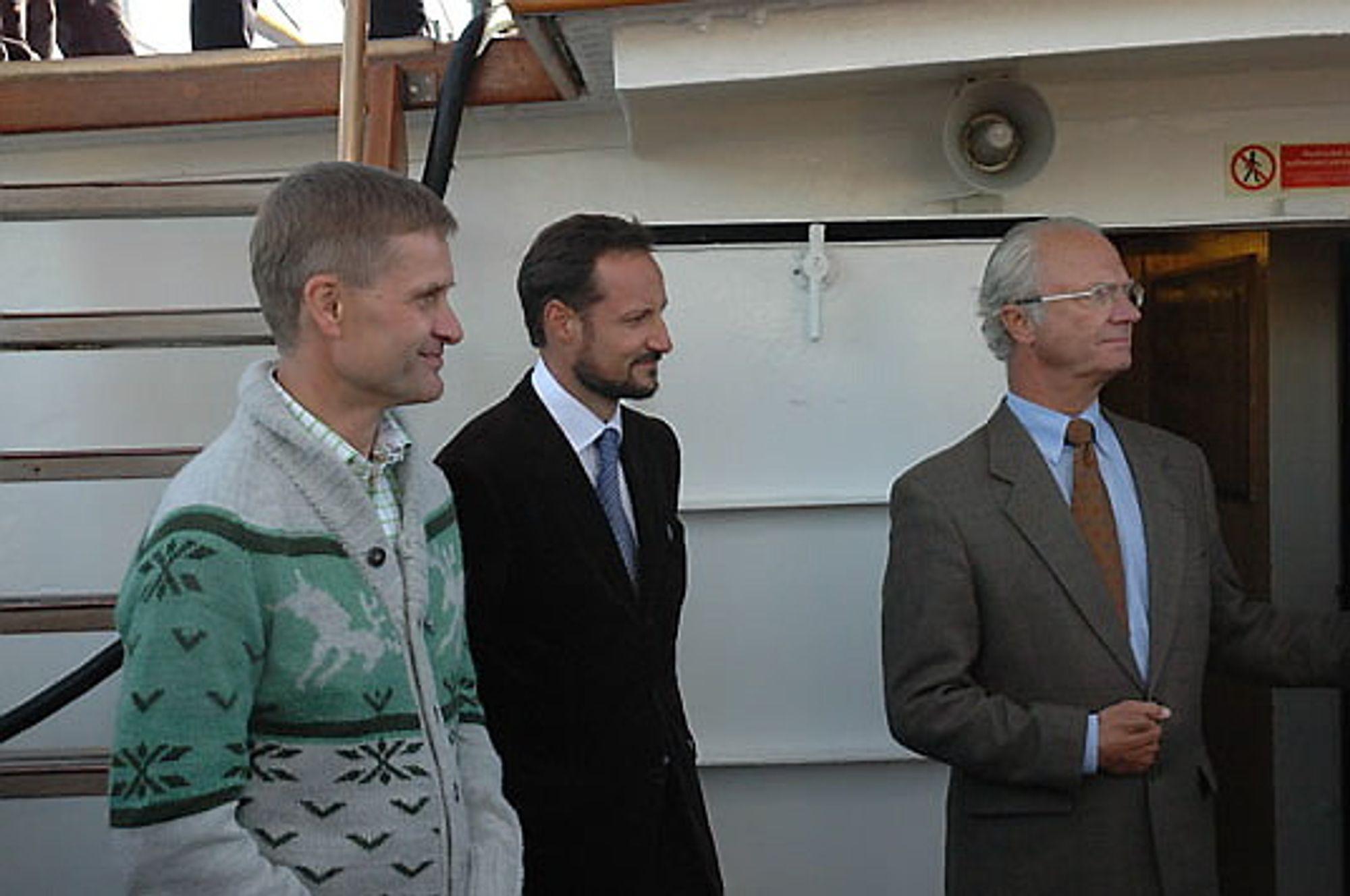 Miljø- og utviklingsminister Erik Solheim, HKH Kronprins Haakon og HM Kong Carl XVI Gustav.