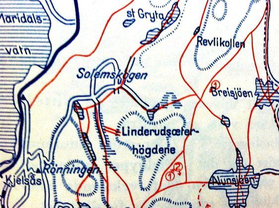 LILLOMARKA: Grytehytta ligger ved Store Gryta (øverst) som renner ut i Maridalsvannet. Illustr. fra boken På ski i Oslomarka, Skiforeningen, 1949