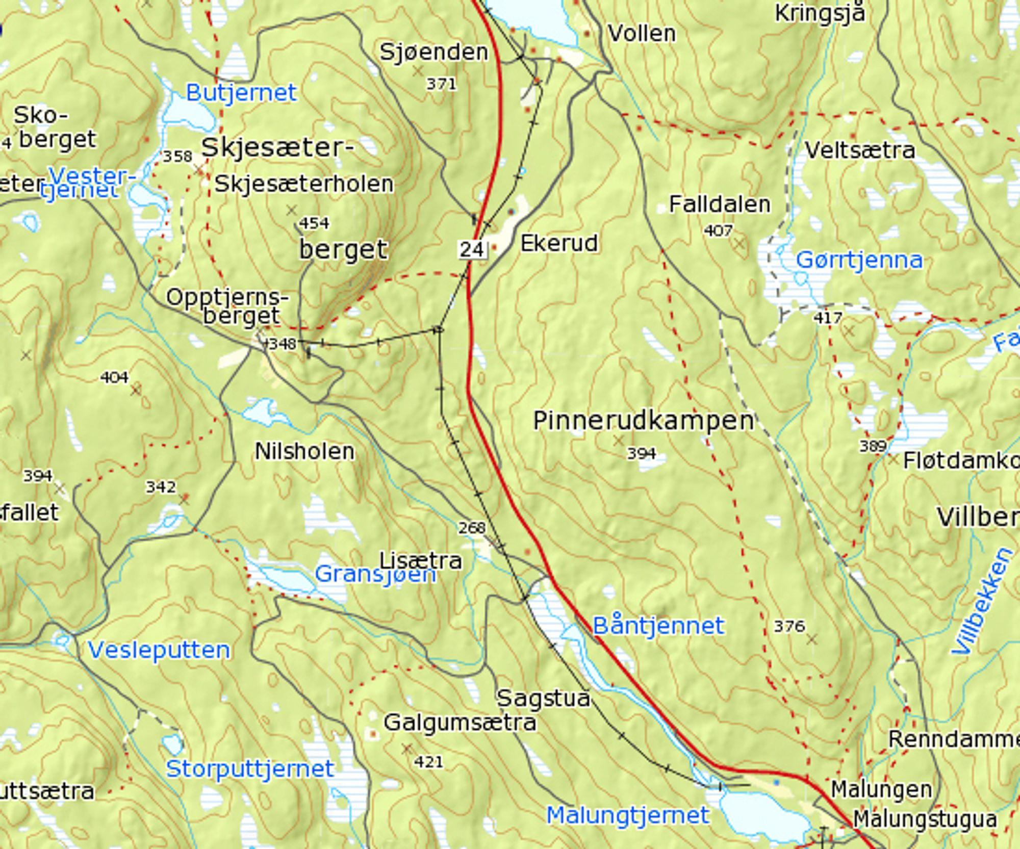 Navnene på ytterpunktene for strekningen som skal utbedres kan ses nederst og øverst på kartet. Åge Haverstad fra Sør-Fron ligger godt an til å få kontrakten. Ill.: Statkart