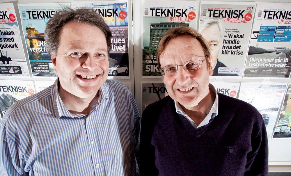 ØKER: Administrerende direktør Jan M. Moberg (t.v.) og ansvarlig redaktør Tormod Haugstad er strålende fornøyd med de nye lesertallene for Teknisk Ukeblad.