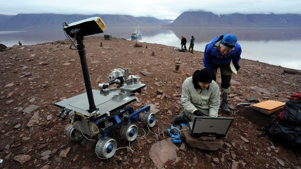 """NASAs """"Fido Rover"""" under testing av instrumenter for Curiosity, ExoMars og Mars Sample Return."""
