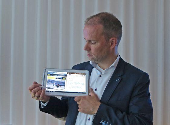 Pennefør:Samsungs telecomsjef Stig-Ove Langø tror den nye versjonen av Galaxy Note nettbrettet med penn kommer til å slå an.