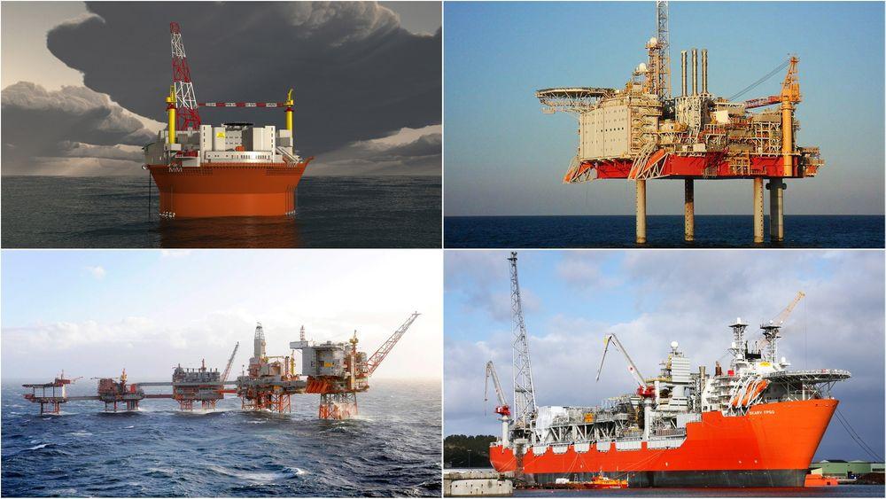 Disse fire prosjektene har kostnadssprekker på til sammen 40 milliarder. Øverst fra venstre med klokka: Goliat, Yme, Skarv og Valhall.