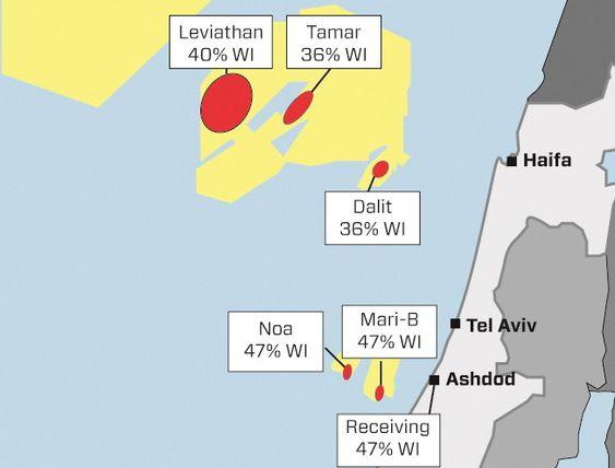 GIGANTFUNN: Leviathan og Tamar er de to største oljefunnene utenfor Israel