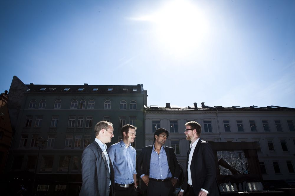 GLOBALE: Alle vil eksportere norsk teknologi, og alle satser på utradisjonelle markeder. Fra venstre Daniel Buikema Fjærtoft, Lars Petter Lunden, Murshid M. Ali og Eivind Fjeldstad.