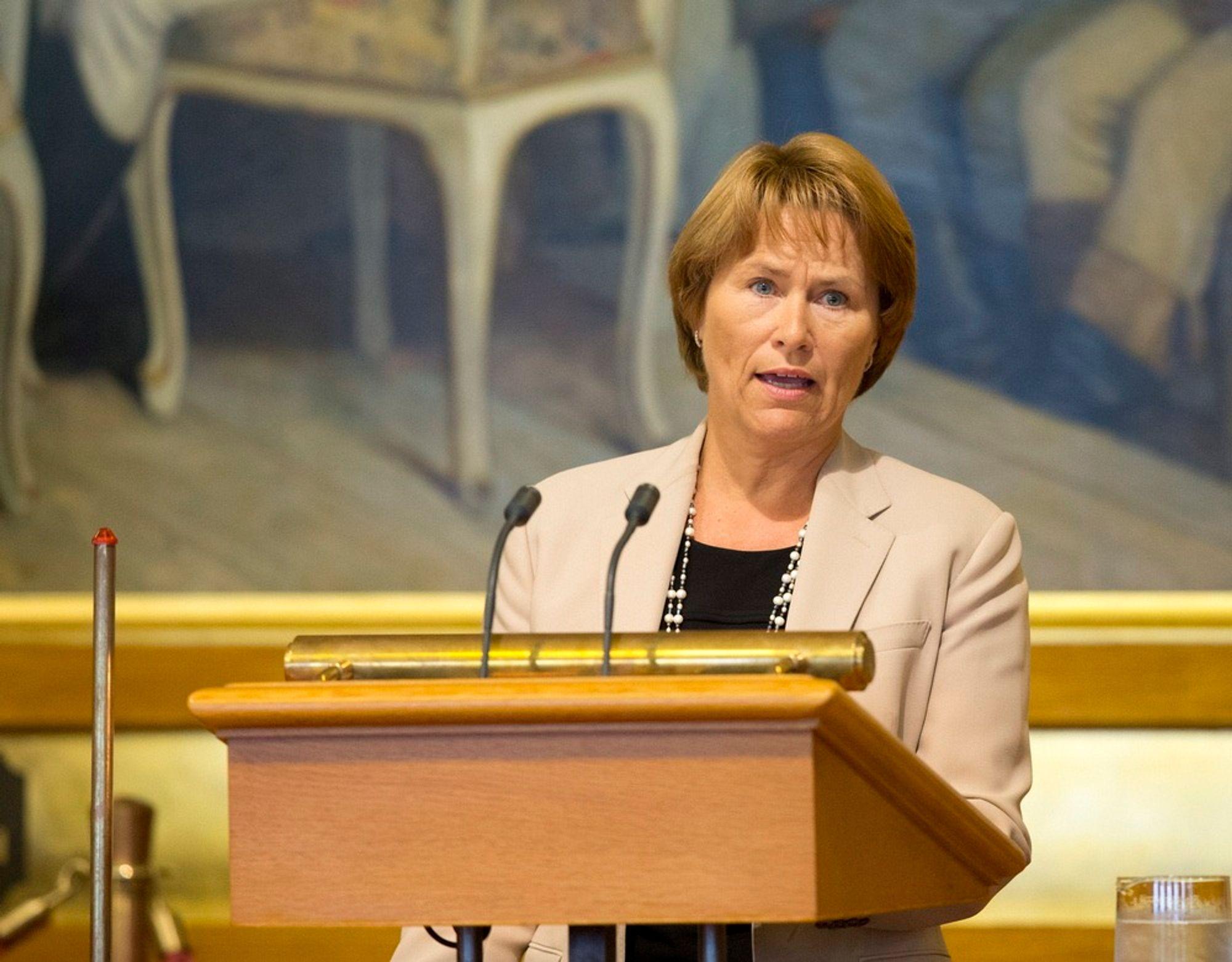 Justisminister Grete Faremo i Stortinget tirsdag under 22. juli redegjørelsen.