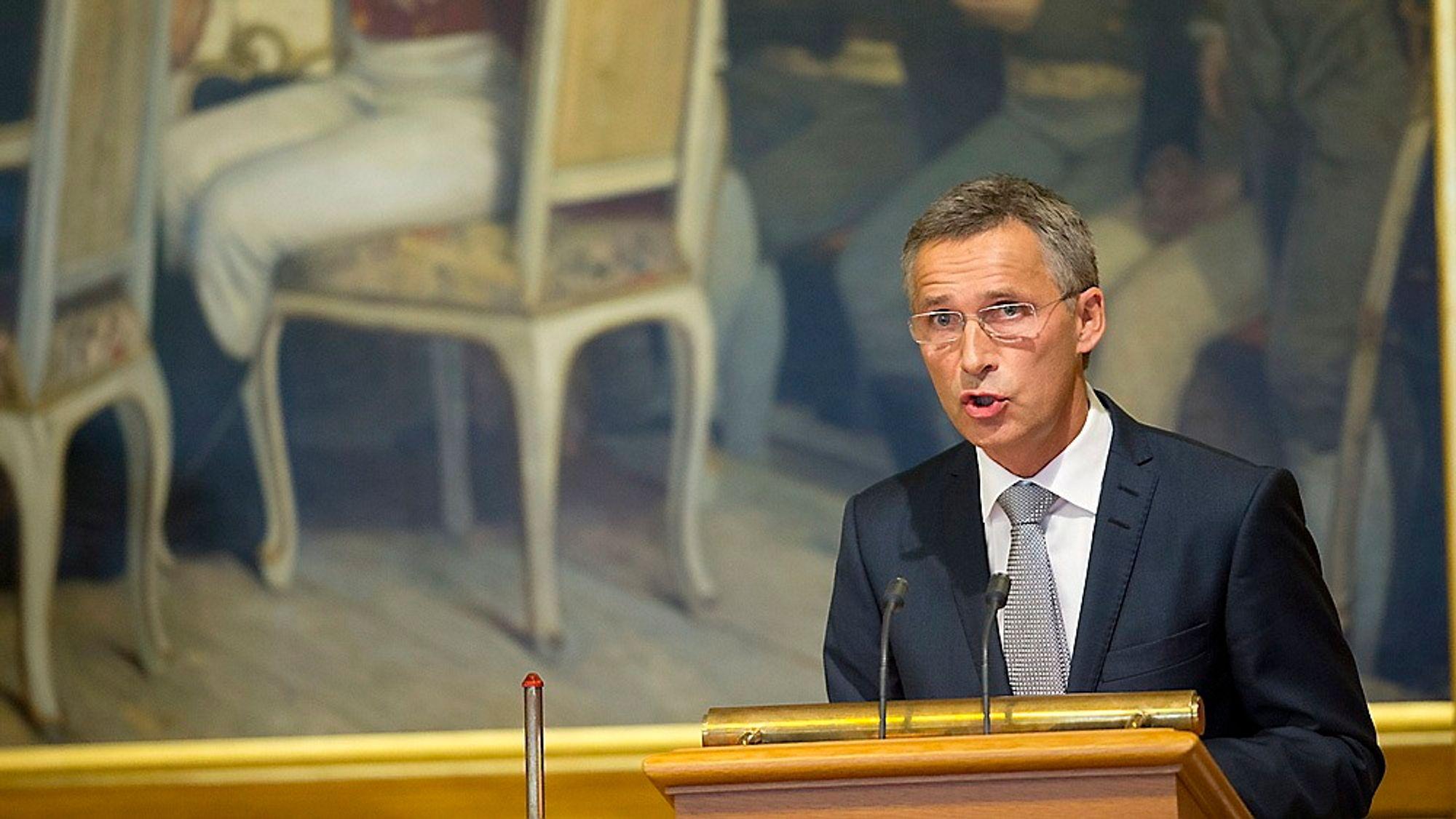 Statsminister Jens Stoltenberg i Stortinget tirsdag under 22. juli-redegjørelsen.