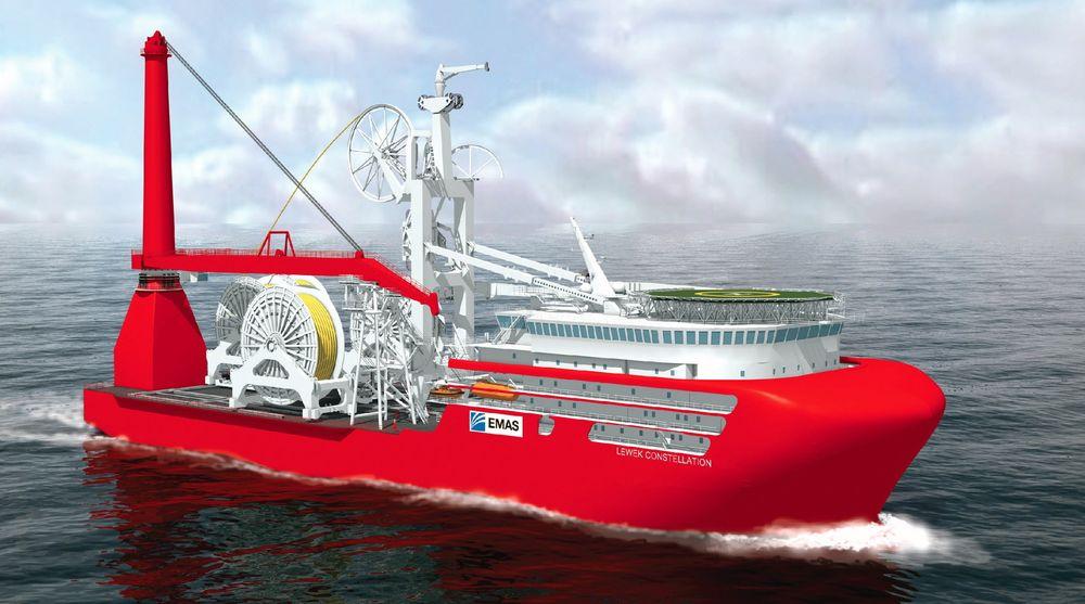 RØRLEGGER: EMAS har bestilt et nytt rørleggings- og subsea serviceskip som kan løfte kveiler på 3000 tonn om bord.