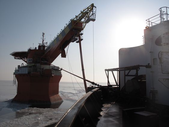 Episode: Russia - Arctic IcebreakerPicture shows: Timofey Guzhenko connected to Varandey oil terminal