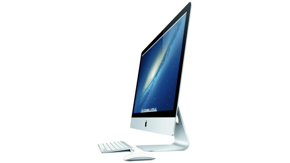 Den nye iMac-en er bare fem millimeter tykk og veier nesten fire kilo mindre enn forrige generasjon.