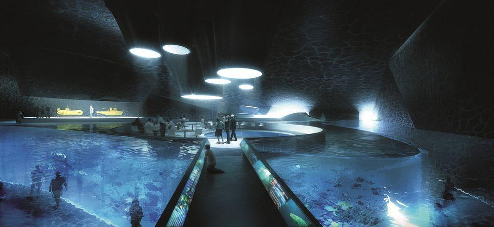I VERDENSTOPPEN: Frp mener at forskningsmiljøet i Trondheim vil være i verdenstoppen hvis Centre for Autonomous Marine Operations and Systems får tittelen som SFF. Det senteret vil inngå i en større satsing på havromsteknologi, nemlig Ocean Space Center, som vises på bildet. Illustrasjon: Snøhetta